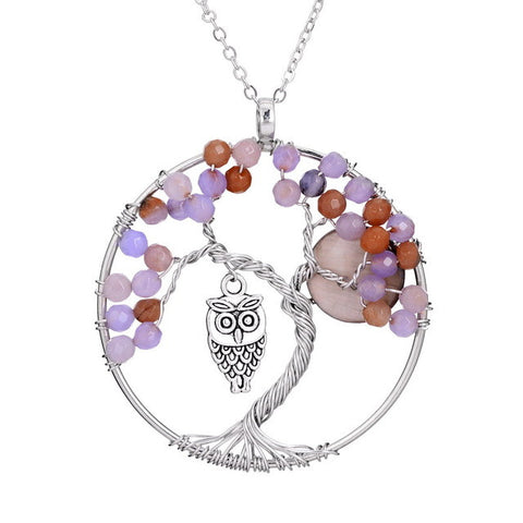 Owl Tree Of Life Red Coral Pendant Necklace