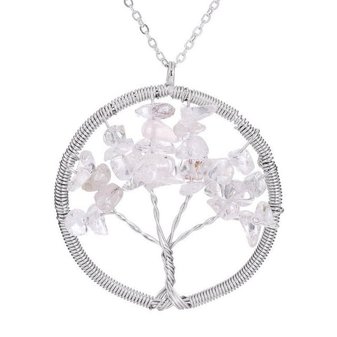 Colorful Natural Stone Tree Of Life Pendant Necklace Crystal Quartz