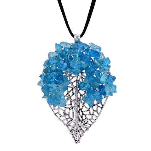 Blue Healing Crystal Chips Hollow Leaf Shape Pendant Necklace