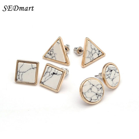 Triangle Round Square Shape White  Marbled  Earrings Women Gold Color
