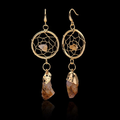 Natural Stone Circular Net With Rock Yellow Crystals  Earrings