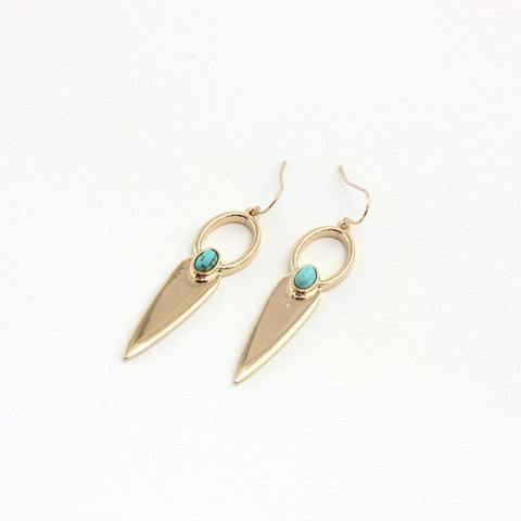 Shiny Golden Arrow Point Spike Drop Earrings  Long Geometric Triangle
