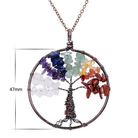 Bohemian StyleTree Of Life Natural Stone Round Pendant Necklace