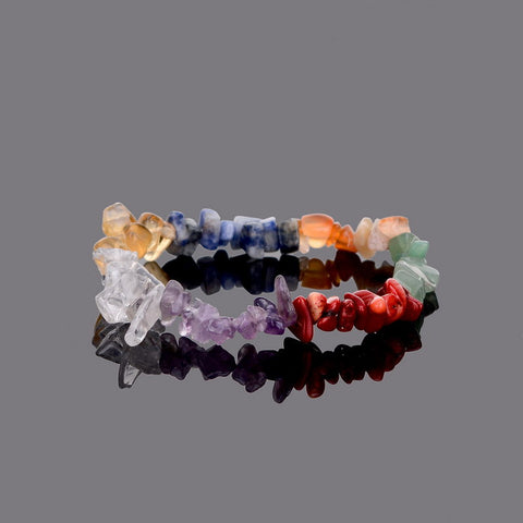 7 Chakra Healing Crystals Natural Stone Chips Single Strand Women Bracelets
