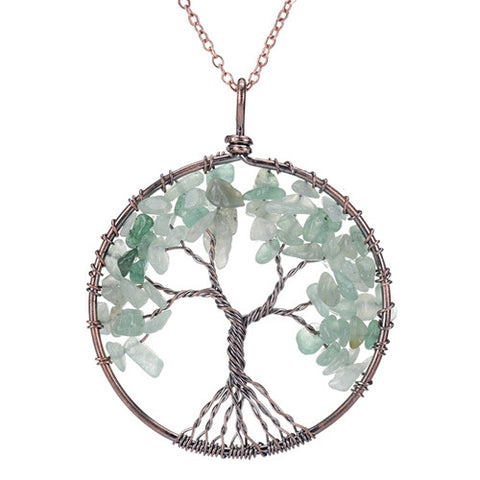 Rainbow 7 Chakra Healing Crystal Tree Of Life Pendant Necklace Copper