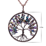 Red Copper Colorful Natural Stone Tree Of Life Pendant  Necklaces