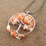 Silver Color Tree of Life Pendant Necklace Red Clear Crystal Natural Stone