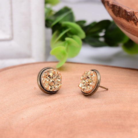 Bronze Golden Round  Quartz Natural Stone  Earrings For Women