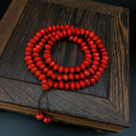 Bodhi bodhi prayer seed beads bracelet  Red bean  108 bead bracelet