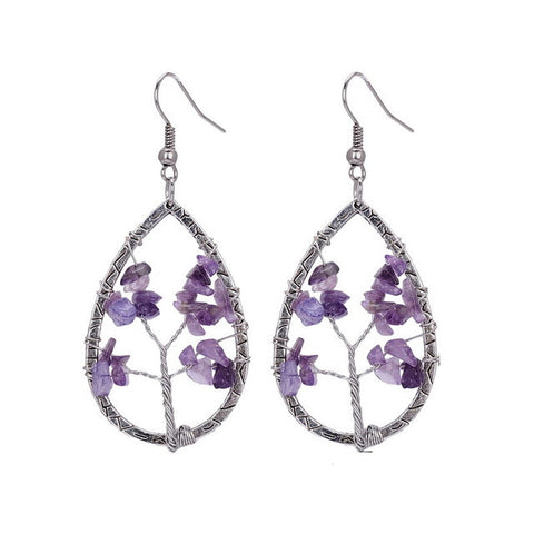 Tree Of Life   Purple Crystal Natural Stone Dangle Earrings