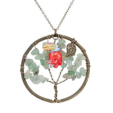 Tree Of Life Enamel Parrot Long Chain Bronze Necklace