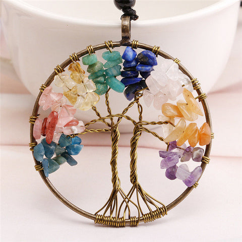 Crystal  Tree Of Life Pendant Necklace Copper Plated