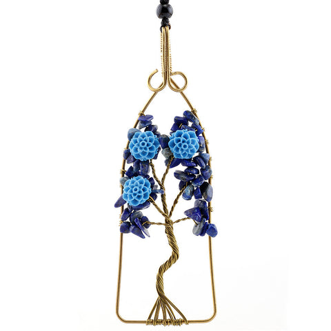 Crystal Quartz Natural Stone Tree Of Life With Flower Pendant Necklaces