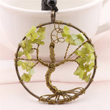 7 Chakra  Crystal Natutral Stone Tree Of Life Pendant Necklace Copper