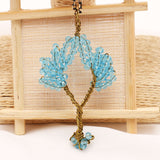 Handmade Wire wrapped  Tree Of Life Pendant Necklace Crystal Beads