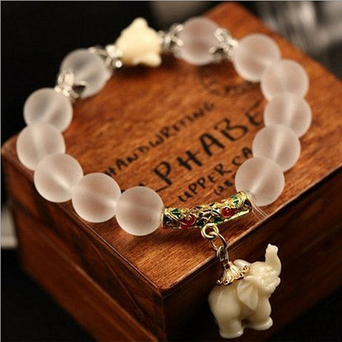 Ethnic Matte Crystal Elephant Charm Bracelet For Women