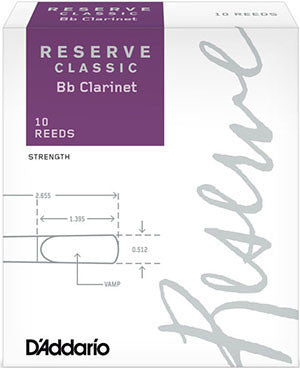 D'Addario Reserve Classic B-Flat Clarinet Reeds (Box of 10)