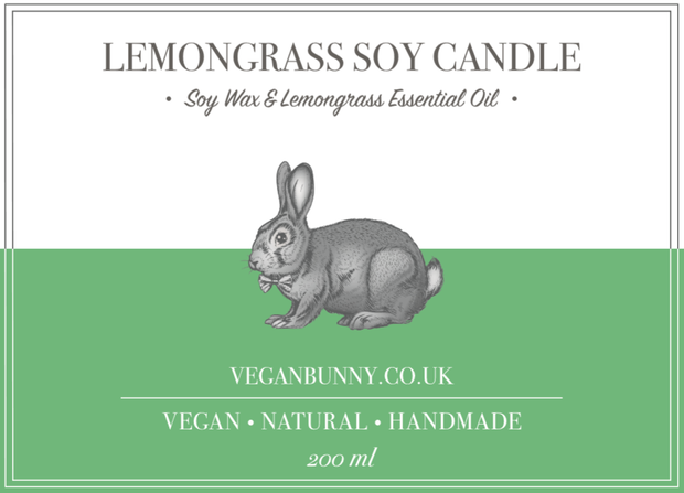 vegan Candle - Vegan Handmade Candle with lemongrass essential oil
