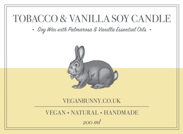 Plastic free vanilla tobacco soy candle - soy vegan candle with palmarosa essential oil