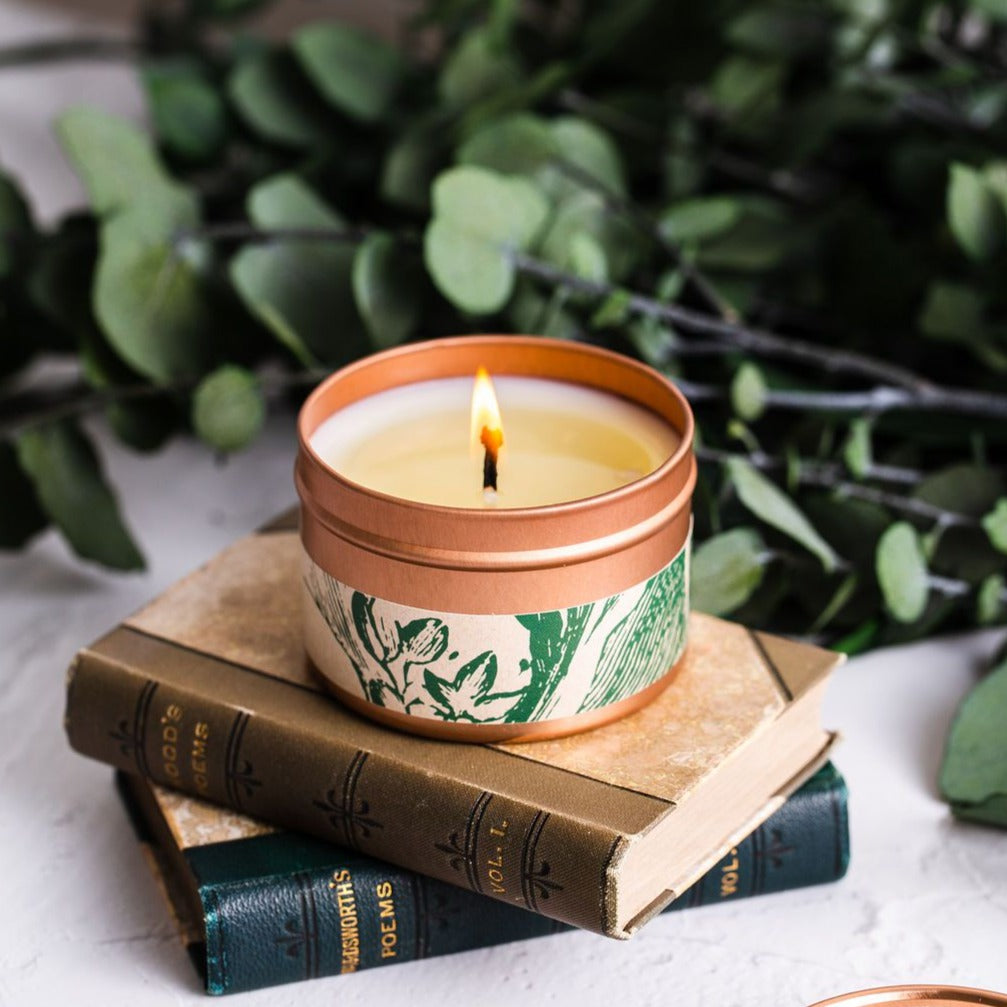 Frosted Holly Candle: Basil + Eucalyptus