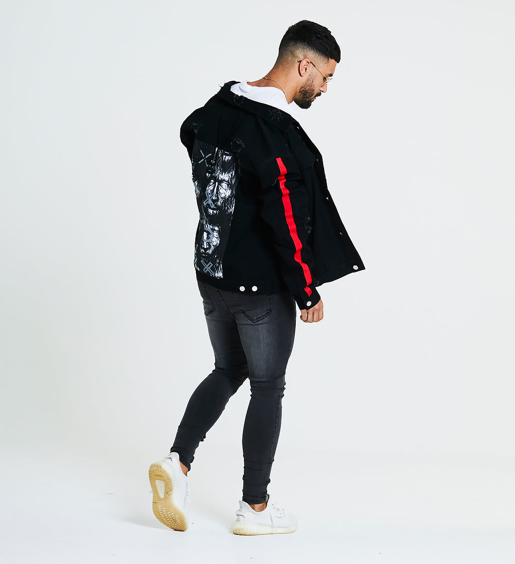 DISTRESSED OVERSIZED DENIM JACKET WITH BACK PRINT - BLACK/RED