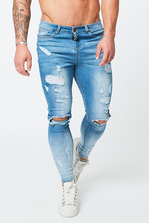 SKINNY RIPPED-REPAIRED JEANS - GRADIENT FADE LIGHT BLUE