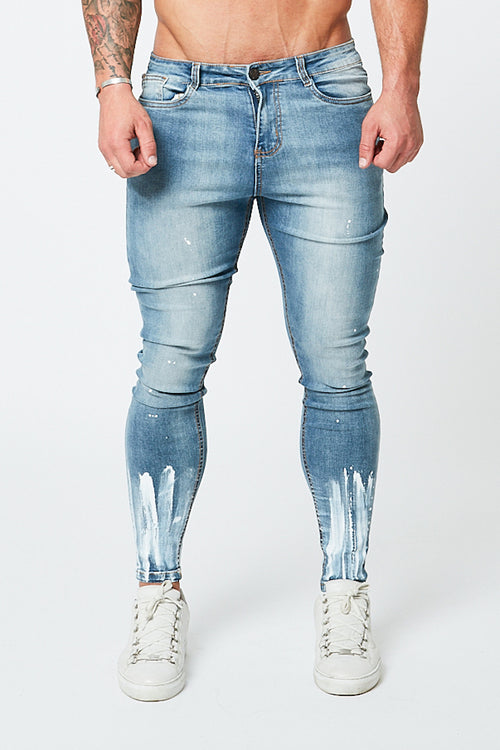 SKINNY NON-RIPPED JEANS - PALE BLUE/PAINT