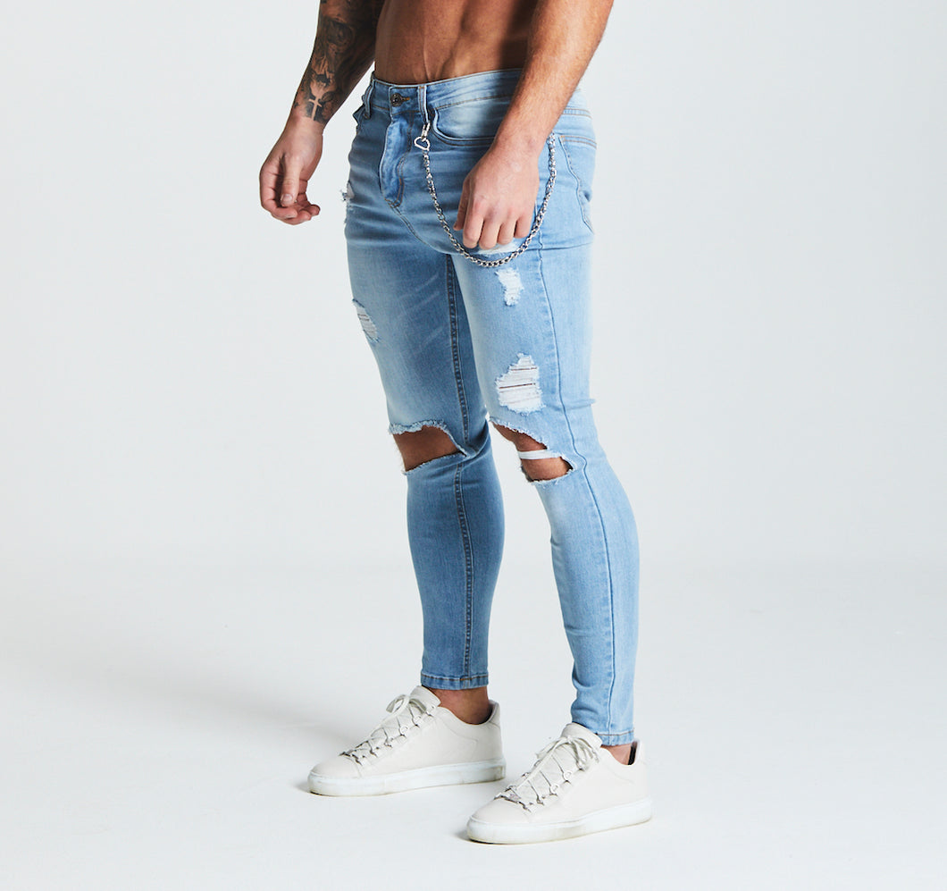 SKINNY ULTRA-RIPPED JEANS - LIGHT BLUE