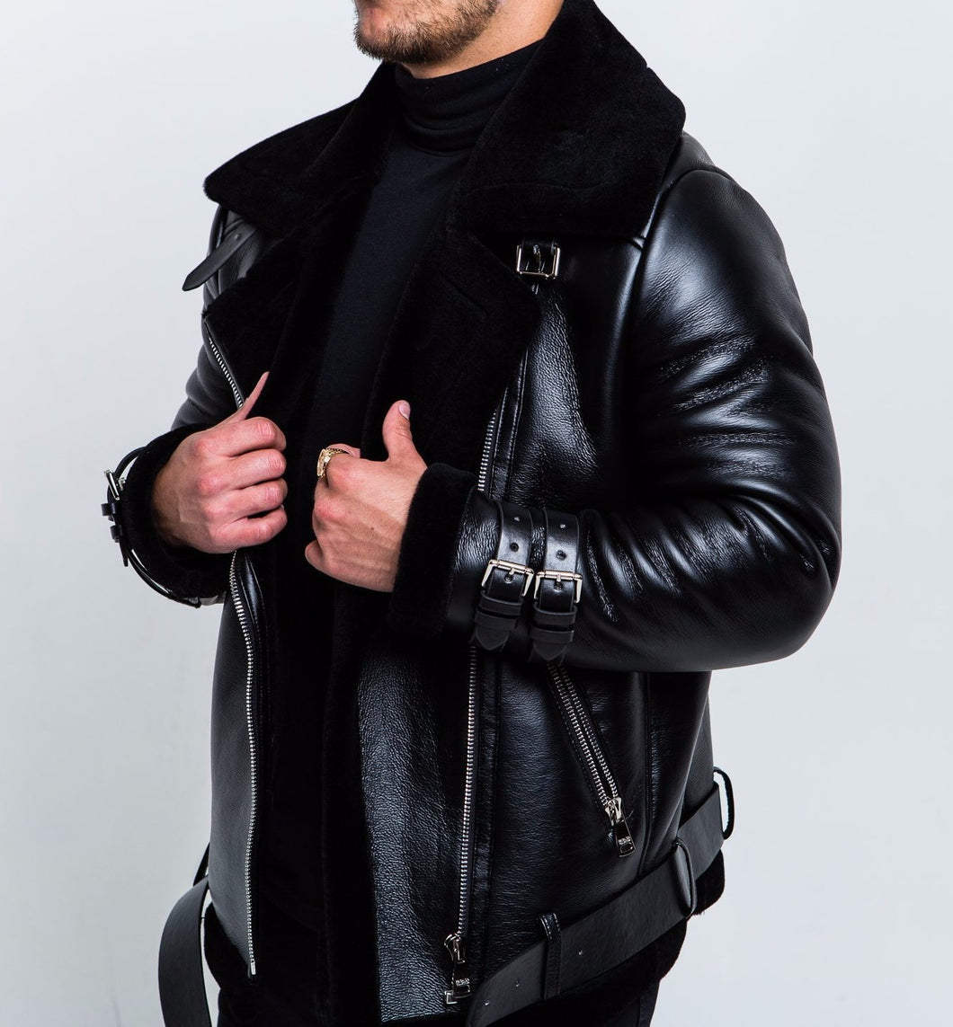 SHEARLING BIKER LEATHER JACKET - BLACK
