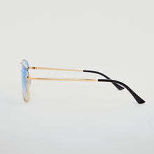 SUNGLASSES - SQUARE NAVIGATOR - GOLD FRAME/BLUE LENSES