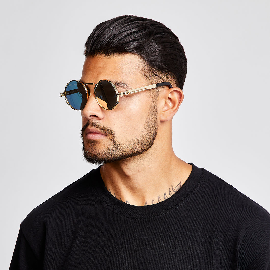 SUNGLASSES - ROUNDED - GOLD FRAME/BLACK LENSES