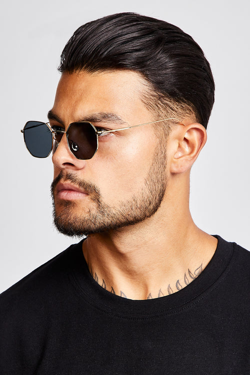 SUNGLASSES - OCTAGONAL - BLACK