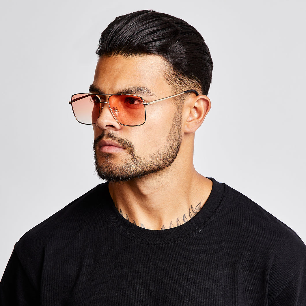 SUNGLASSES - SQUARE NAVIGATOR - GOLD FRAME/RED LENSES
