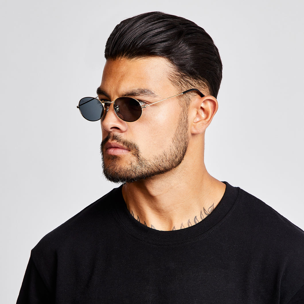 SUNGLASSES - OVAL - BLACK