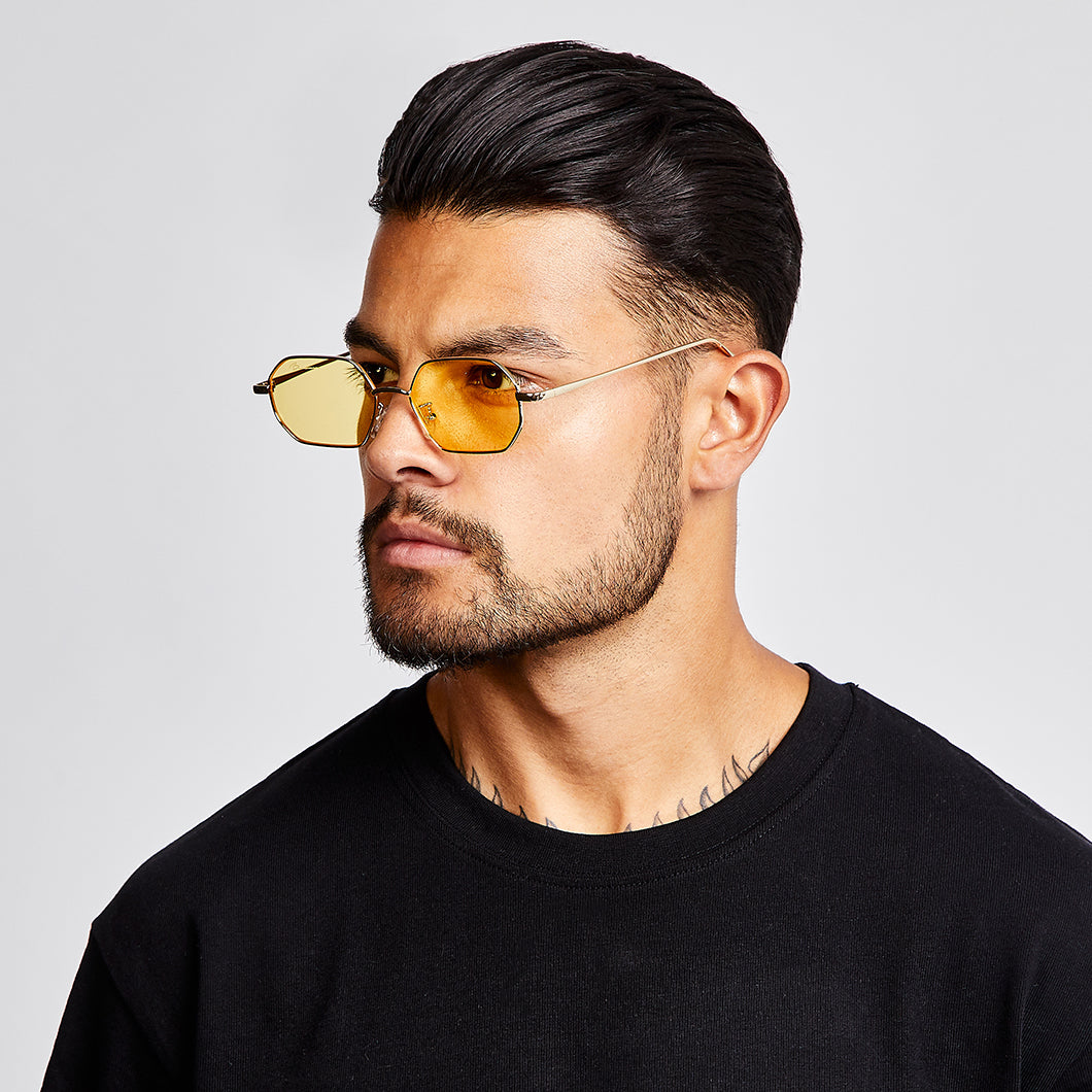 SUNGLASSES - HEXAGONAL - GOLD FRAME/YELLOW LENSES
