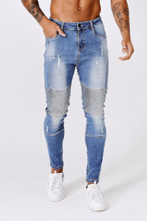SLIM RIPPED-REPAIRED BIKER JEANS - DARK BLUE