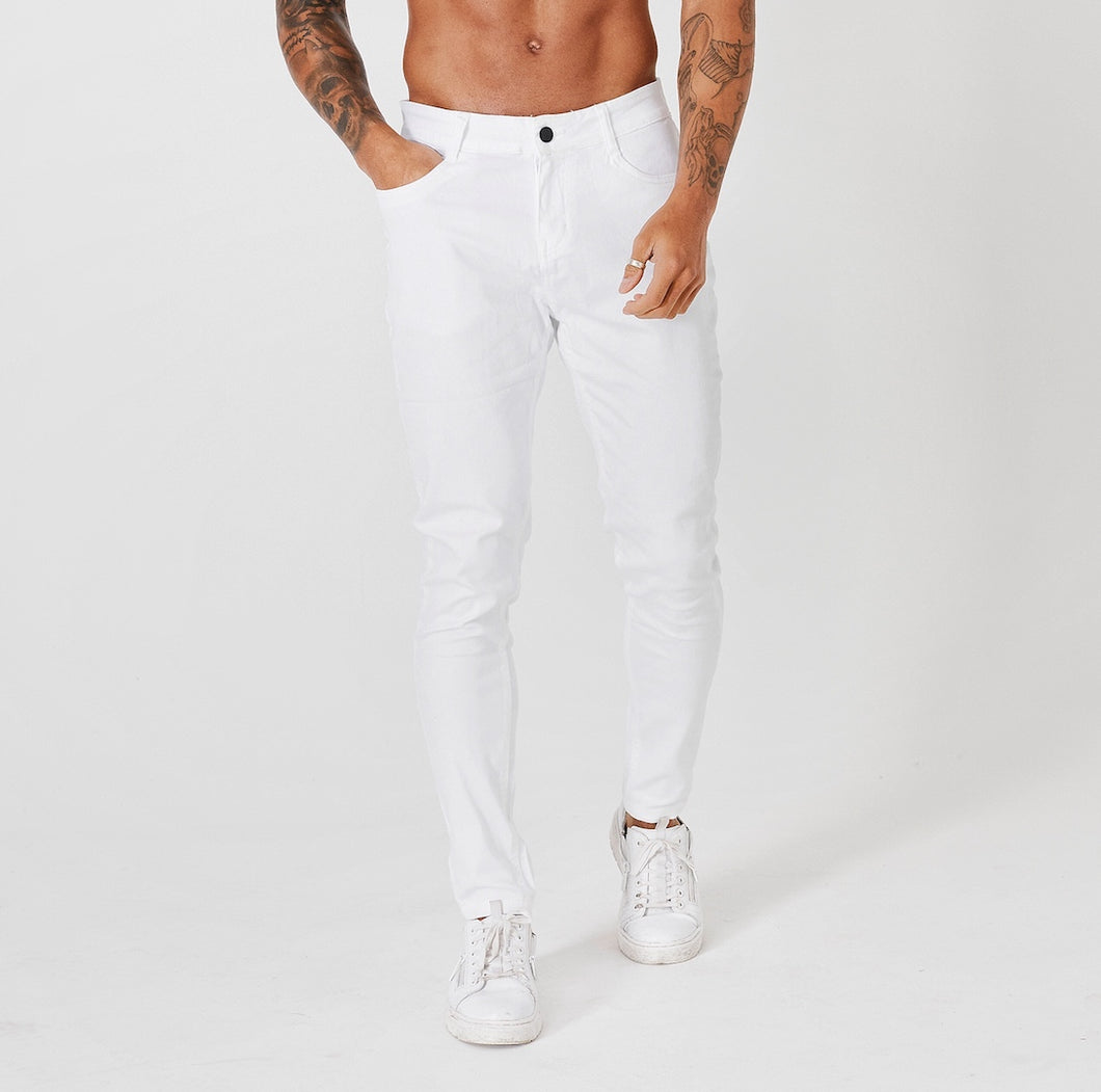SKINNY FIT NON-RIPPED JEANS - WHITE