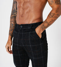 SLIM FIT CHECK TROUSERS - BLACK - V1