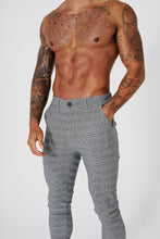 SKINNY CHECK TROUSERS - GREY - V4