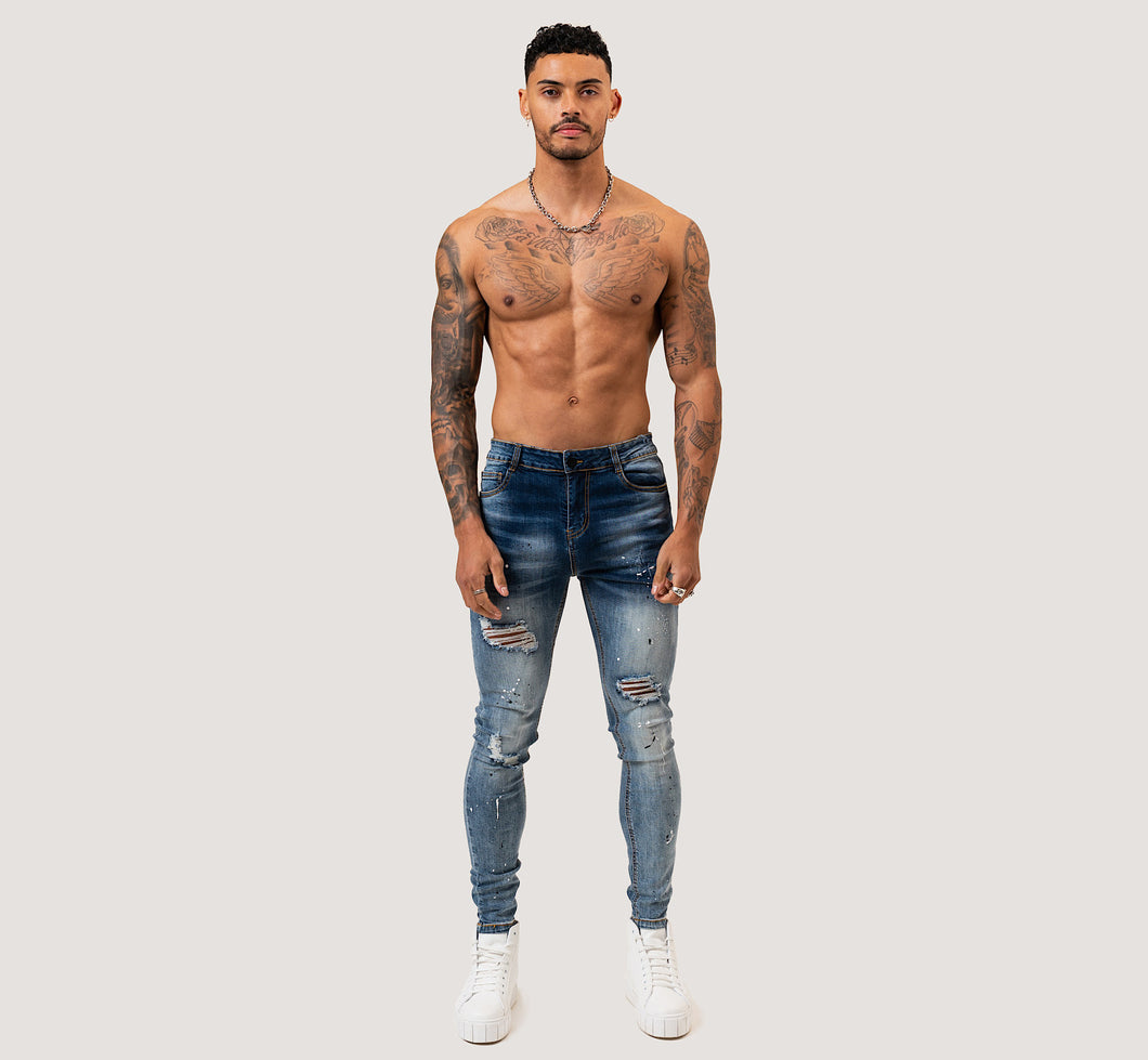 SKINNY RIPPED-REPAIRED PLATTER JEANS - GRADIENT FADE/BLUE