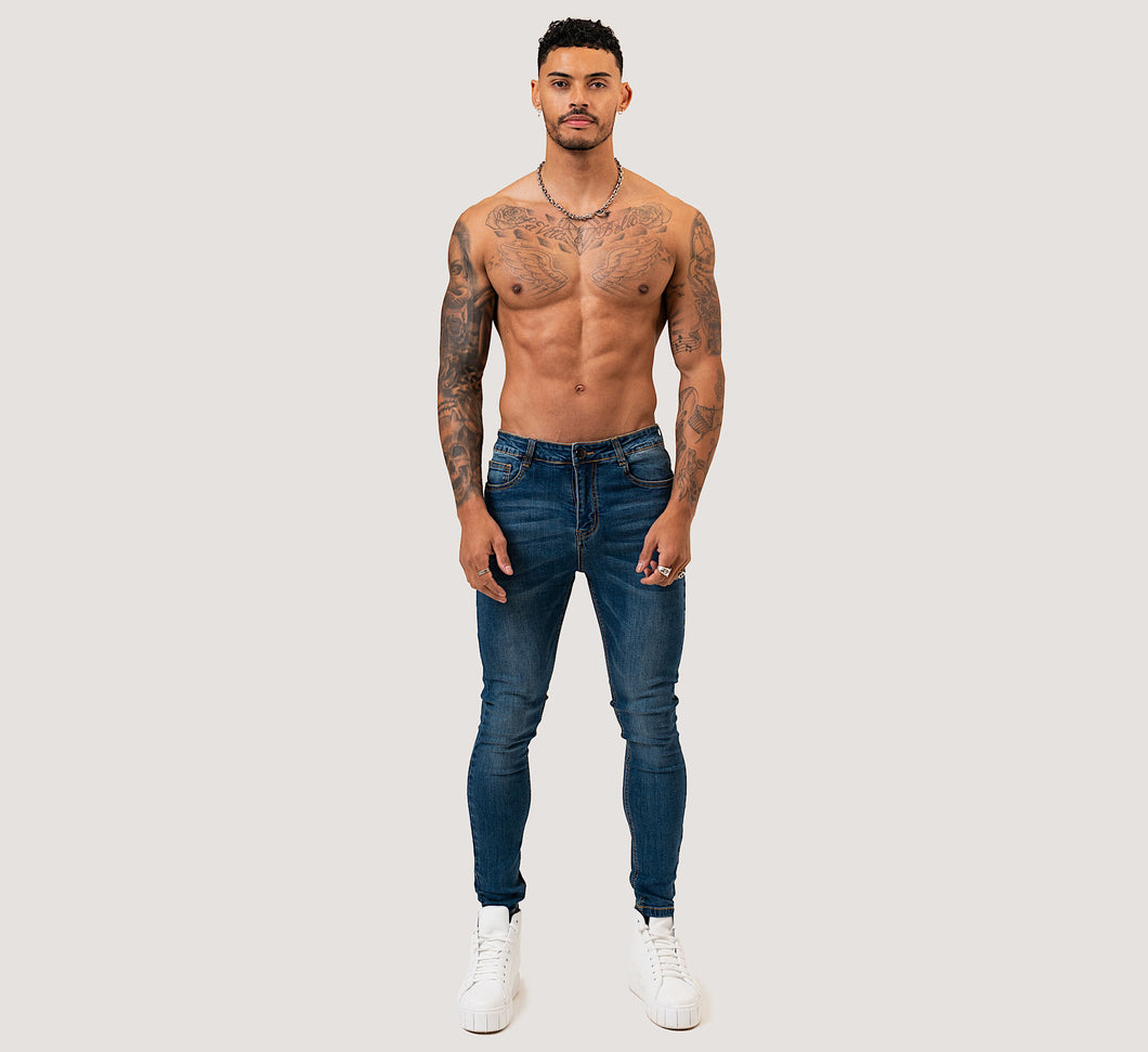 SKINNY NON-RIPPED JEANS - DARK BLUE