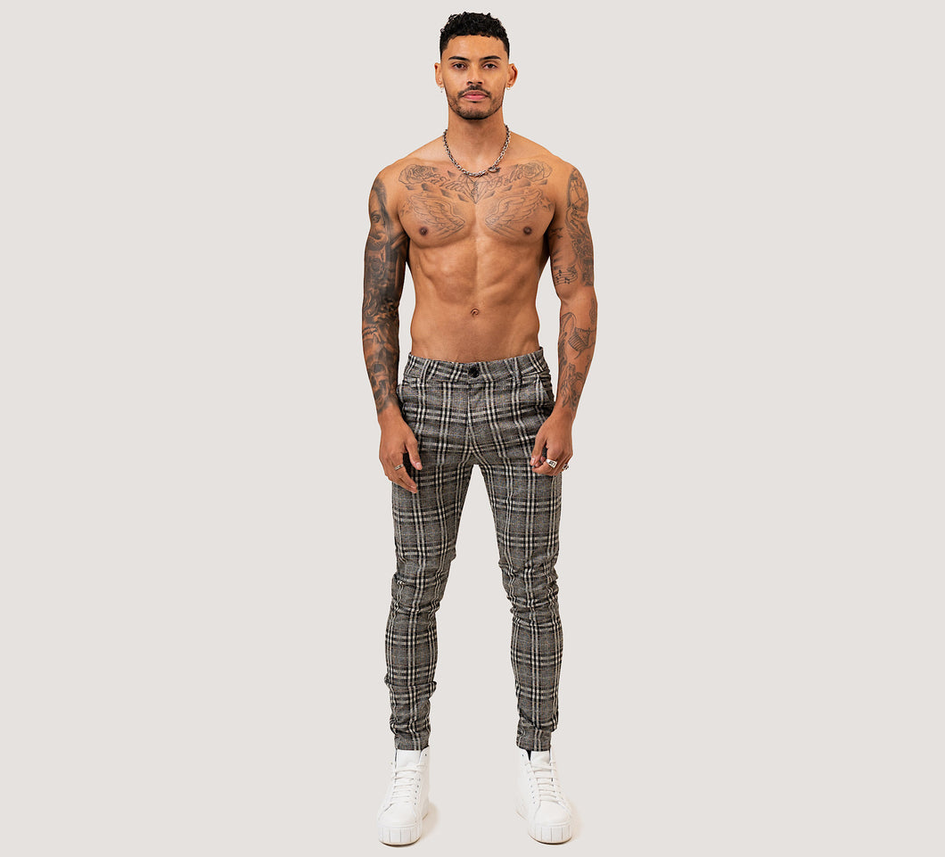 SLIM PLAID TROUSERS - GREY - V1