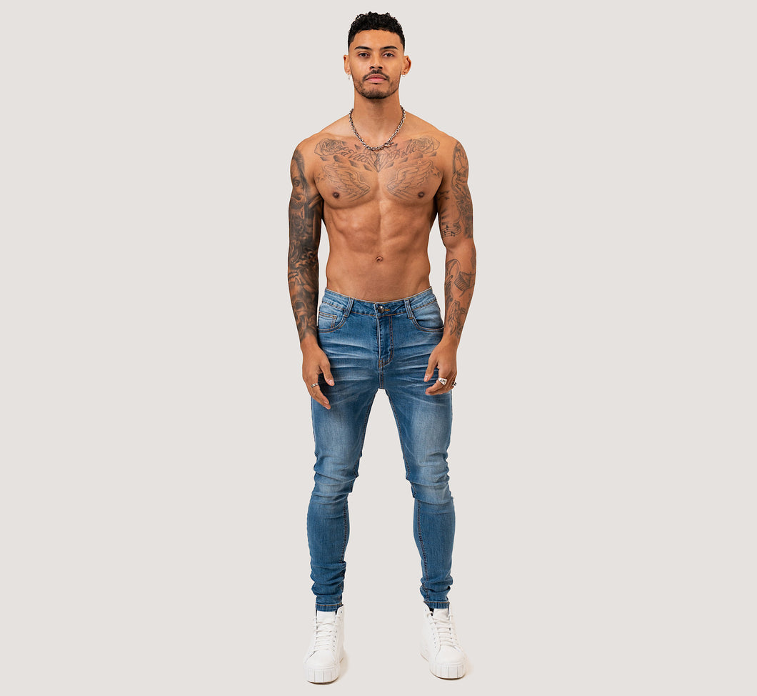 SKINNY NON-RIPPED JEANS - BLUE