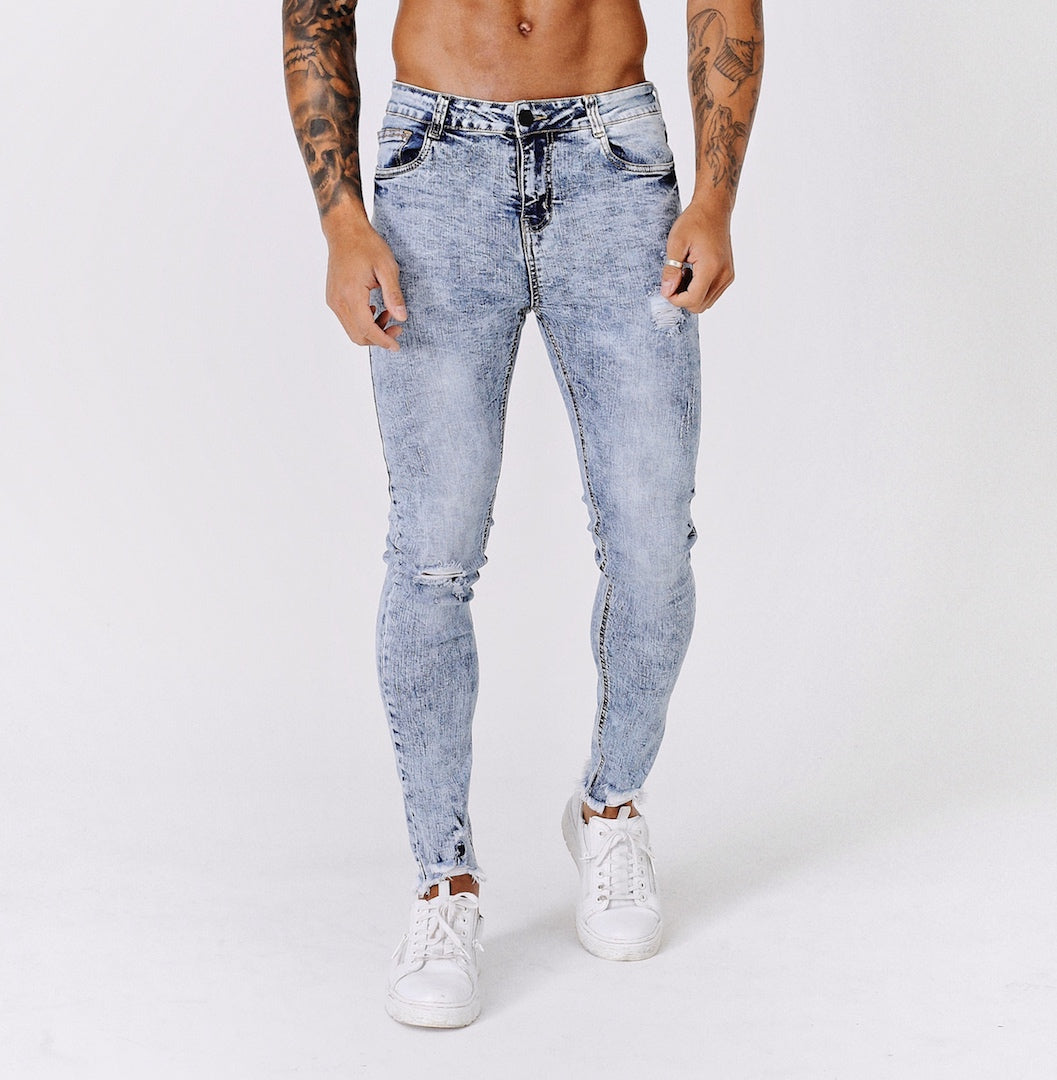 SKINNY ANKLE RIPPED-REPAIRED JEANS - BLUE