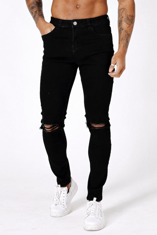 SLIM KNEE-RIPPED JEANS - BLACK