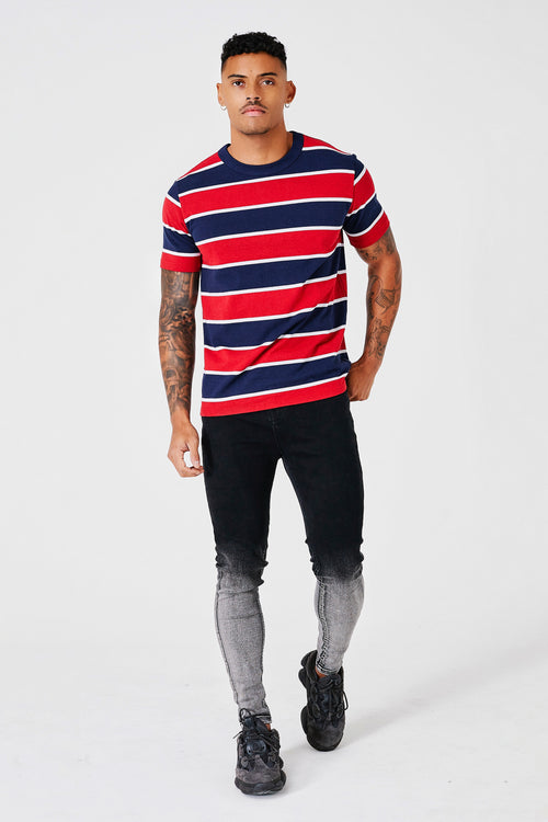 HEAVY STRIPE T-SHIRT - RED/NAVY