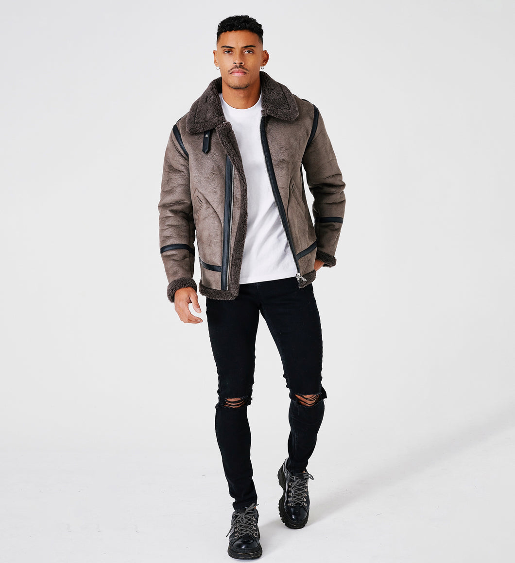 SHEARLING LEATHER JACKET - GREY