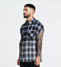PLAID SLEEVELESS SHIRT - BLACK