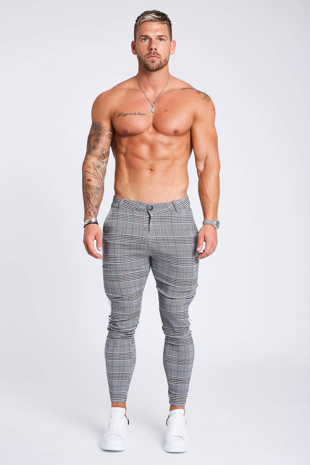 SKINNY CHECK TROUSERS - WHITE STRIPE - GREY - V2