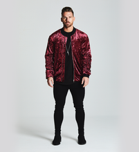 SIGNATURE VELOUR BOMBER JACKET - WINE